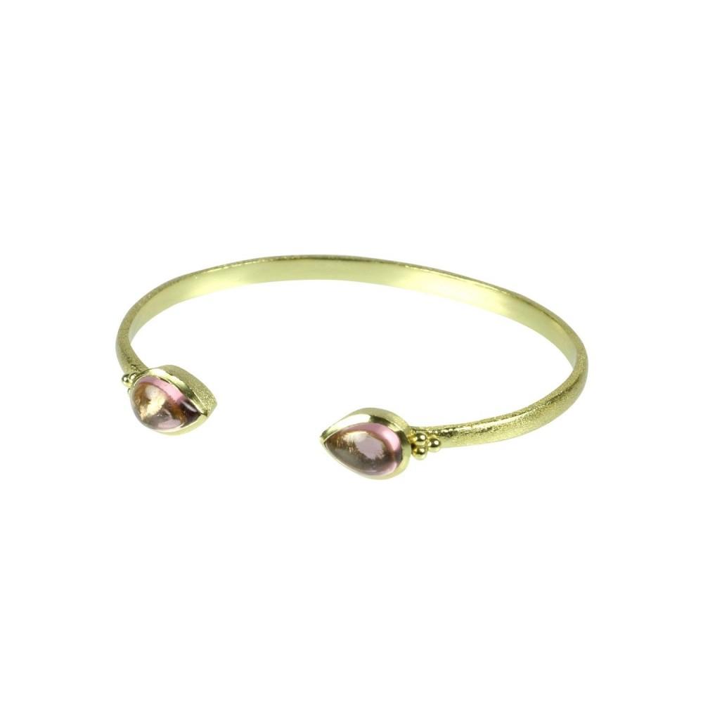 Armbånd m. sten, rhodolit pink, guldbelagt