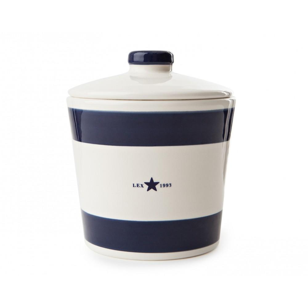 Earthenware Cookie Jar - Blue Striped