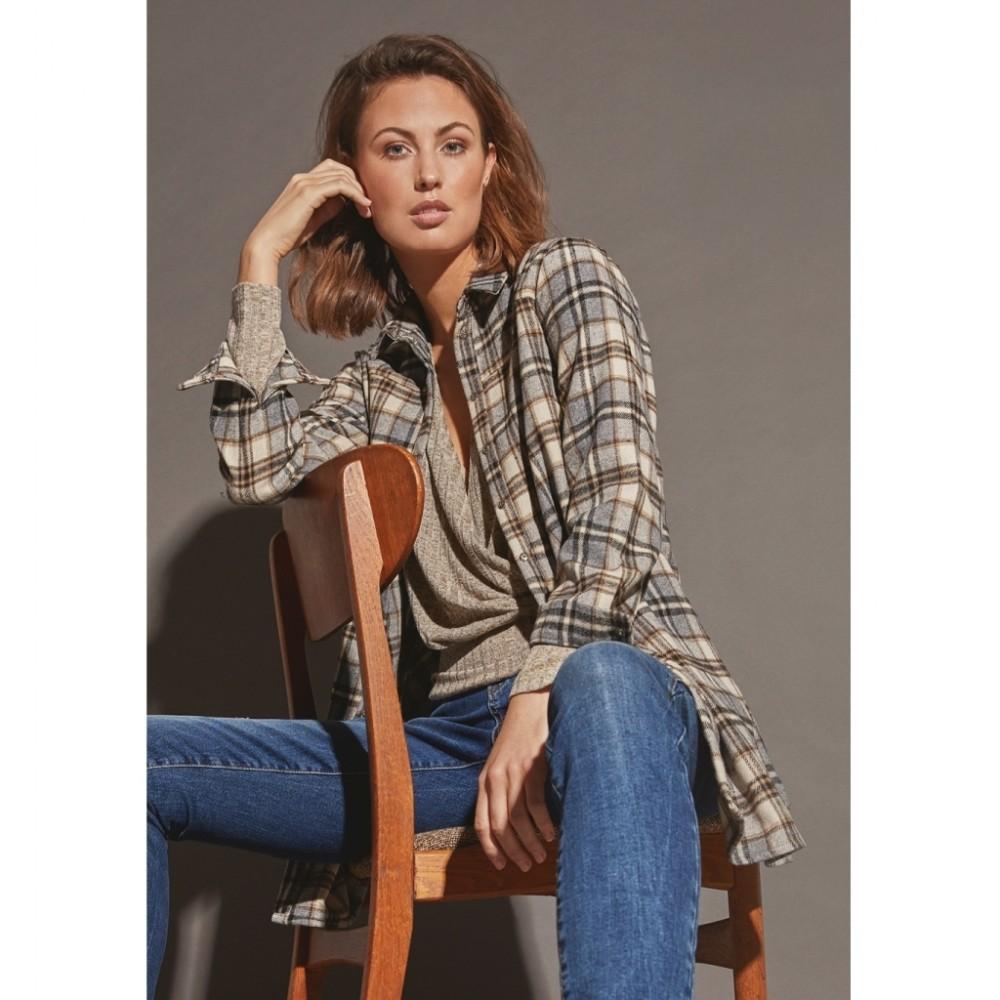 Jilli Shirt, Taupe Check-01
