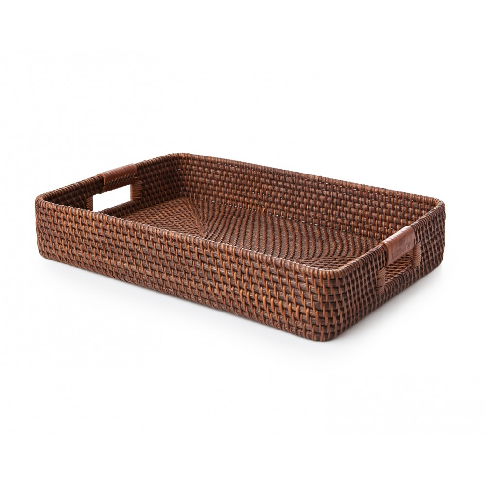 Tray with Leather - brown