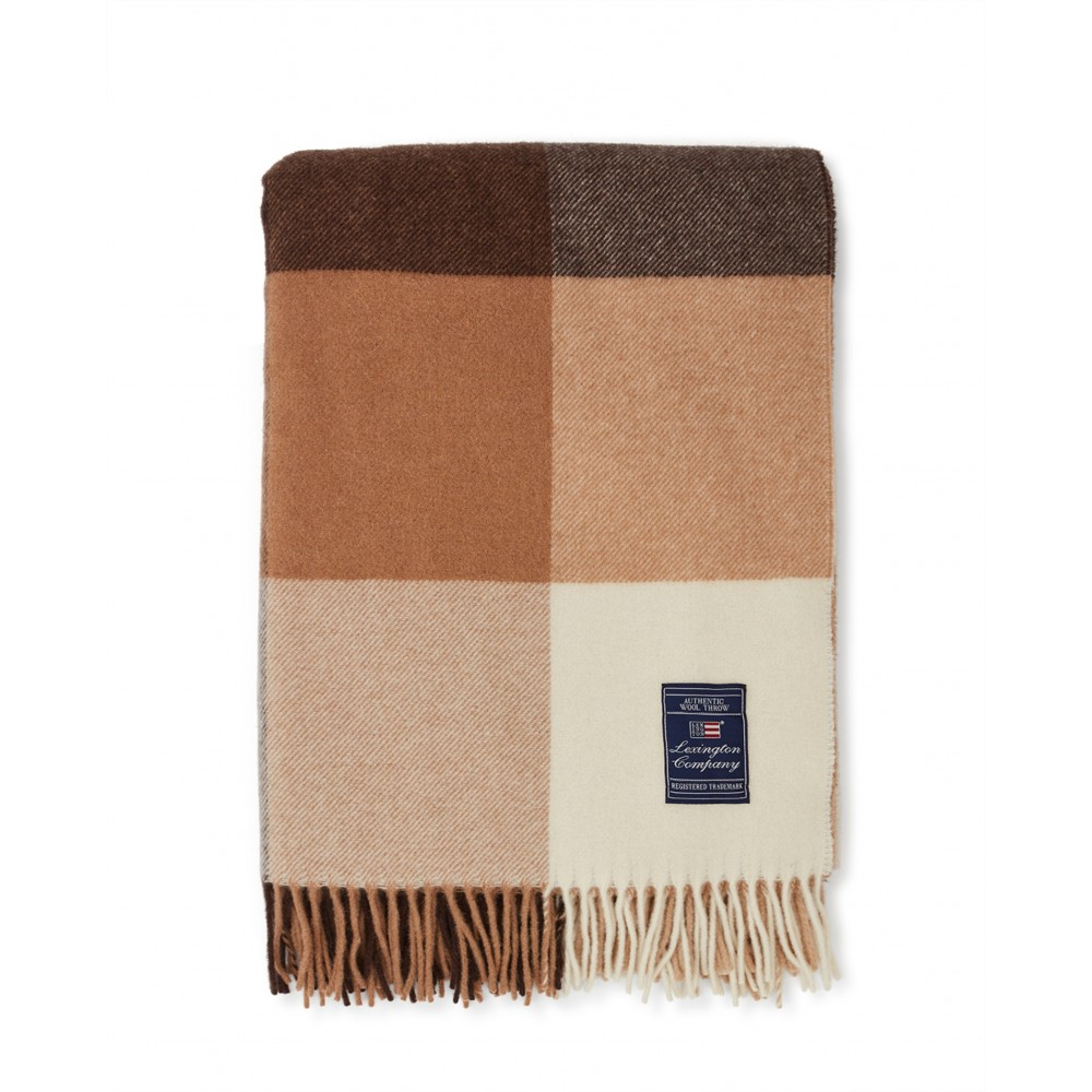 Checked recycled wool throw - beige/ dark grey