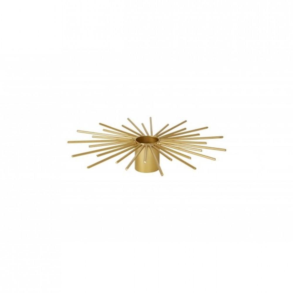 Lysestage krone gylden metal 16cm
