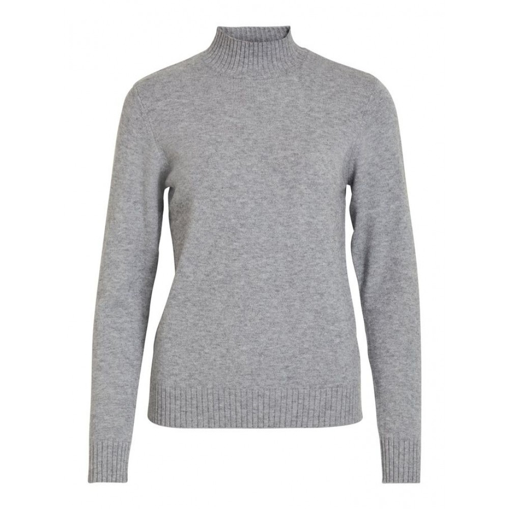Viril Turtleneck L/S Knit Top-Fav, Grey