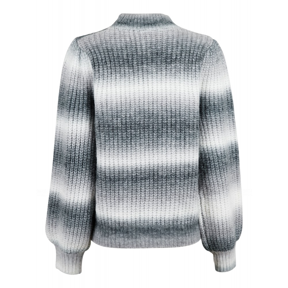Aria Ombre Knit Blouse, Grey-01