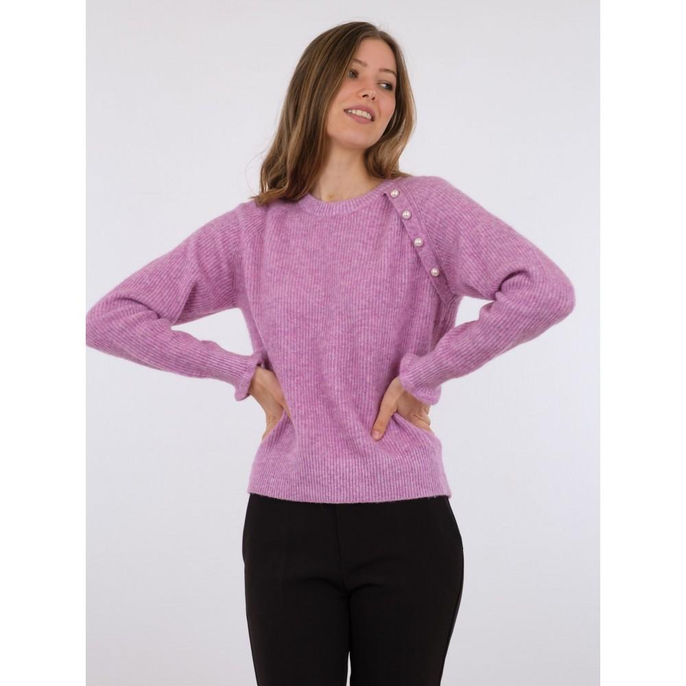 Asli knit blouse - fuchsia melange