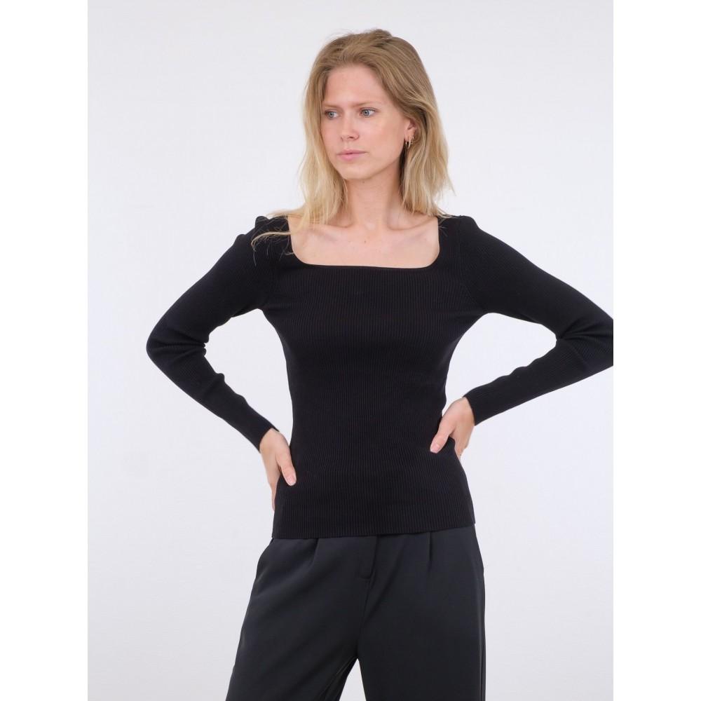 Corine knit blouse - black