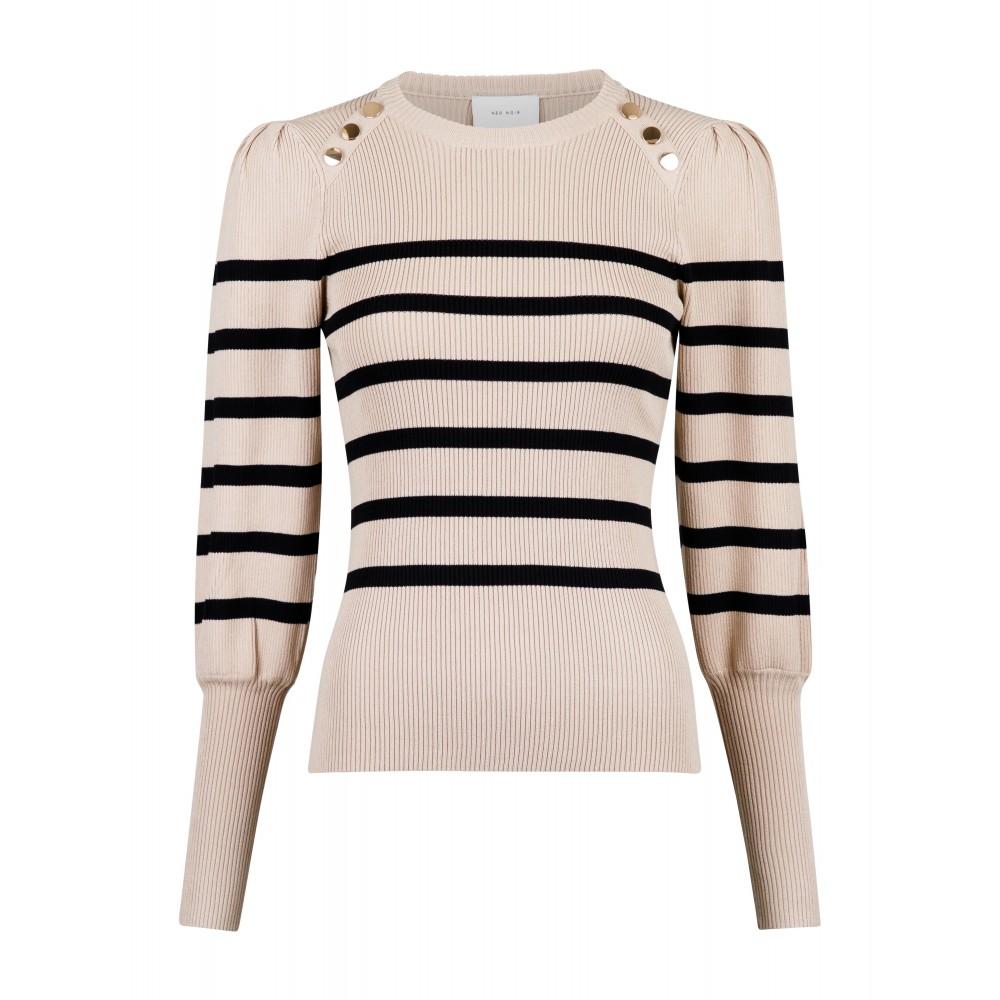 Lanora stripe knit blouse - camel