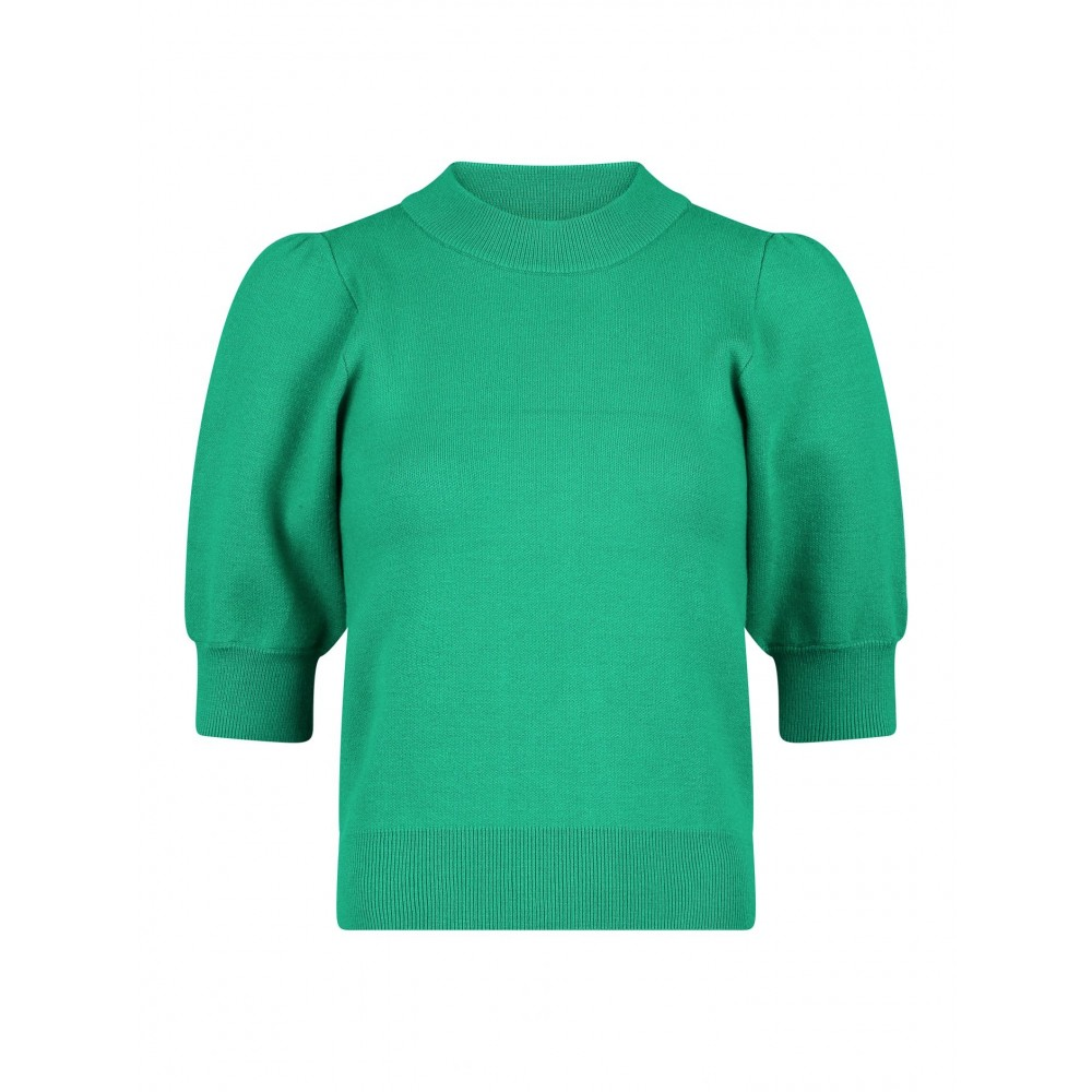 Abi Solid Knit Blouse - Green