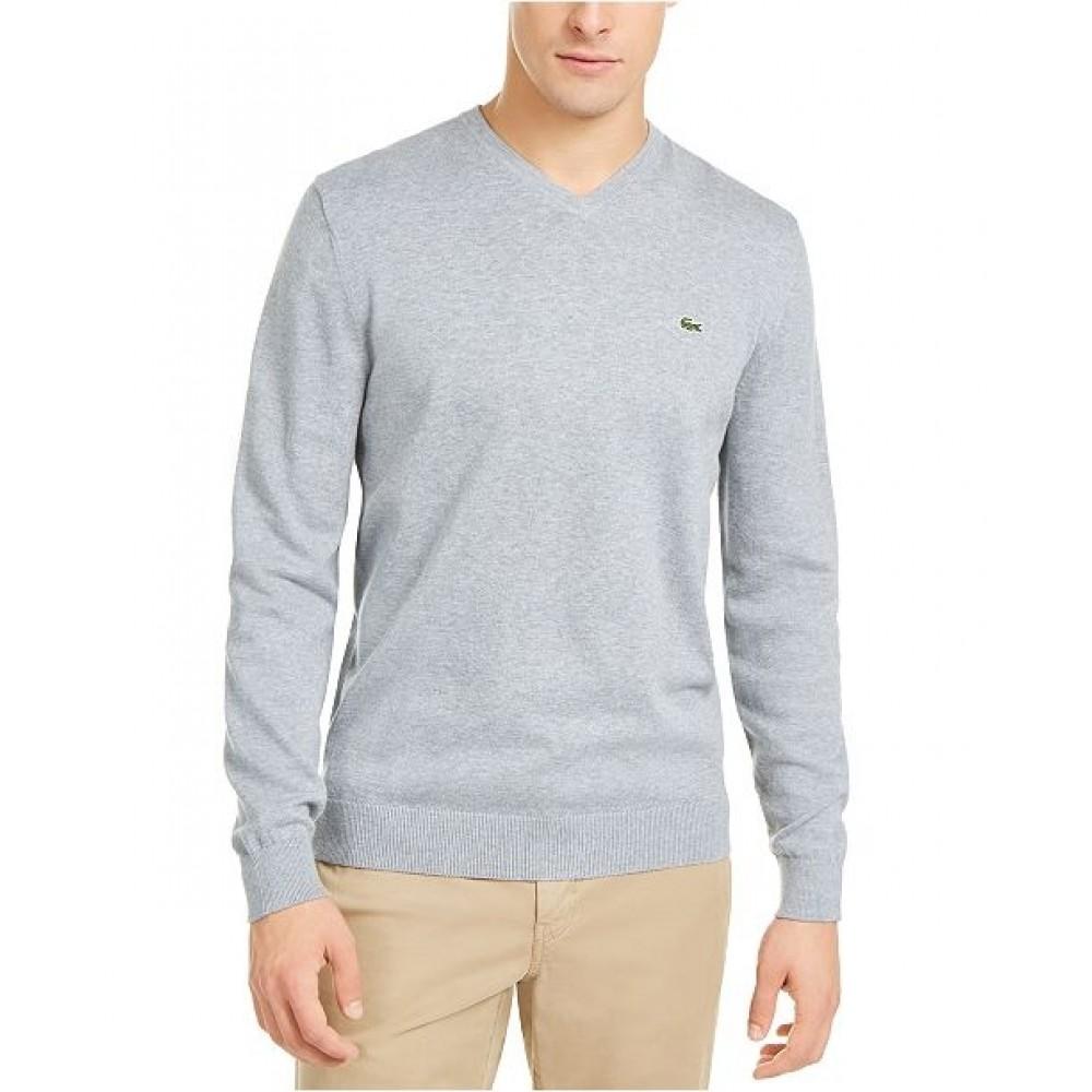 V-Neck Tricot Sweater, Grey