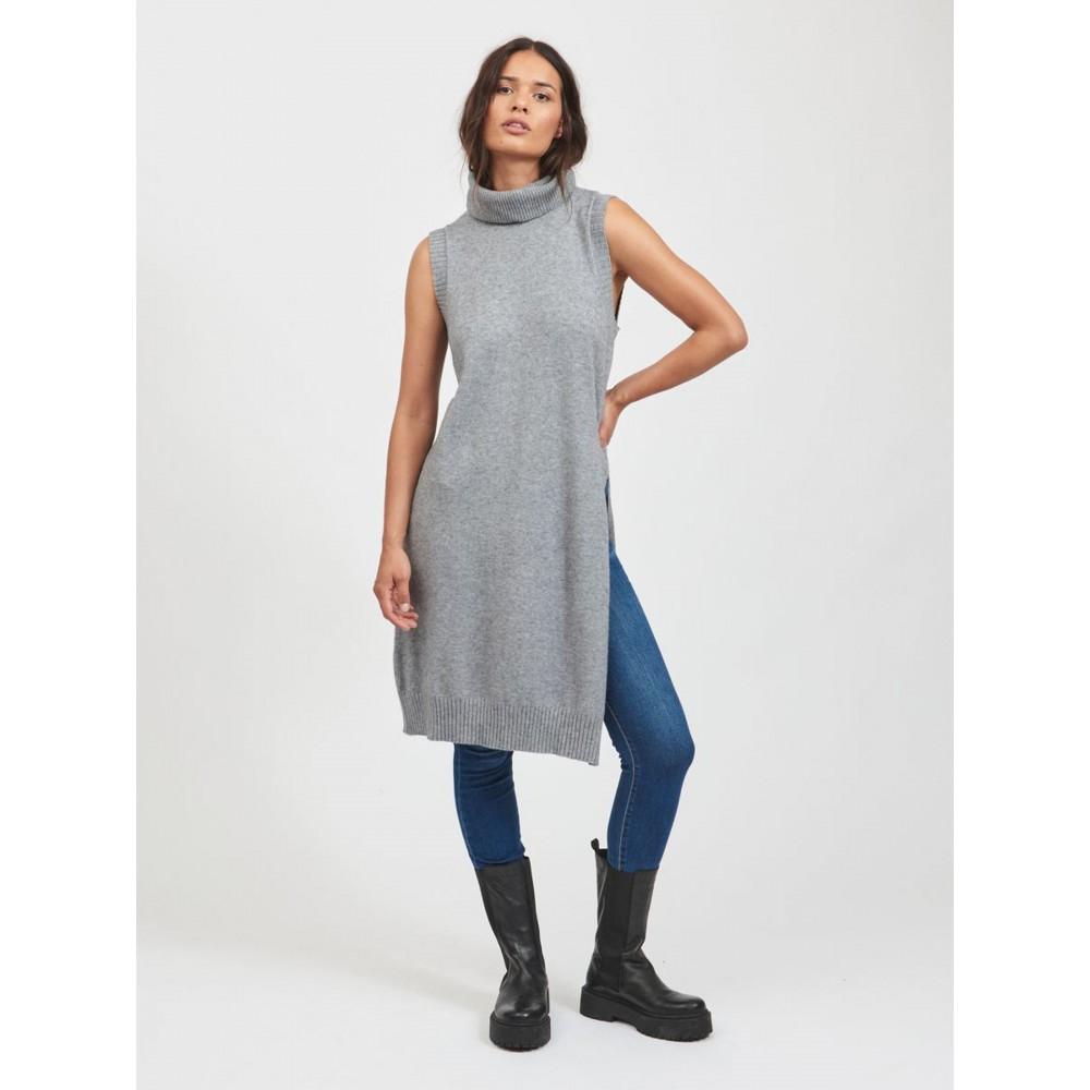 Viril long S/L knit vest- medium grey melange