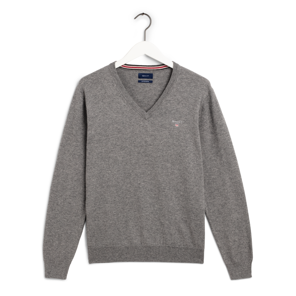 Cotton Wool V-neck, dark grey melange