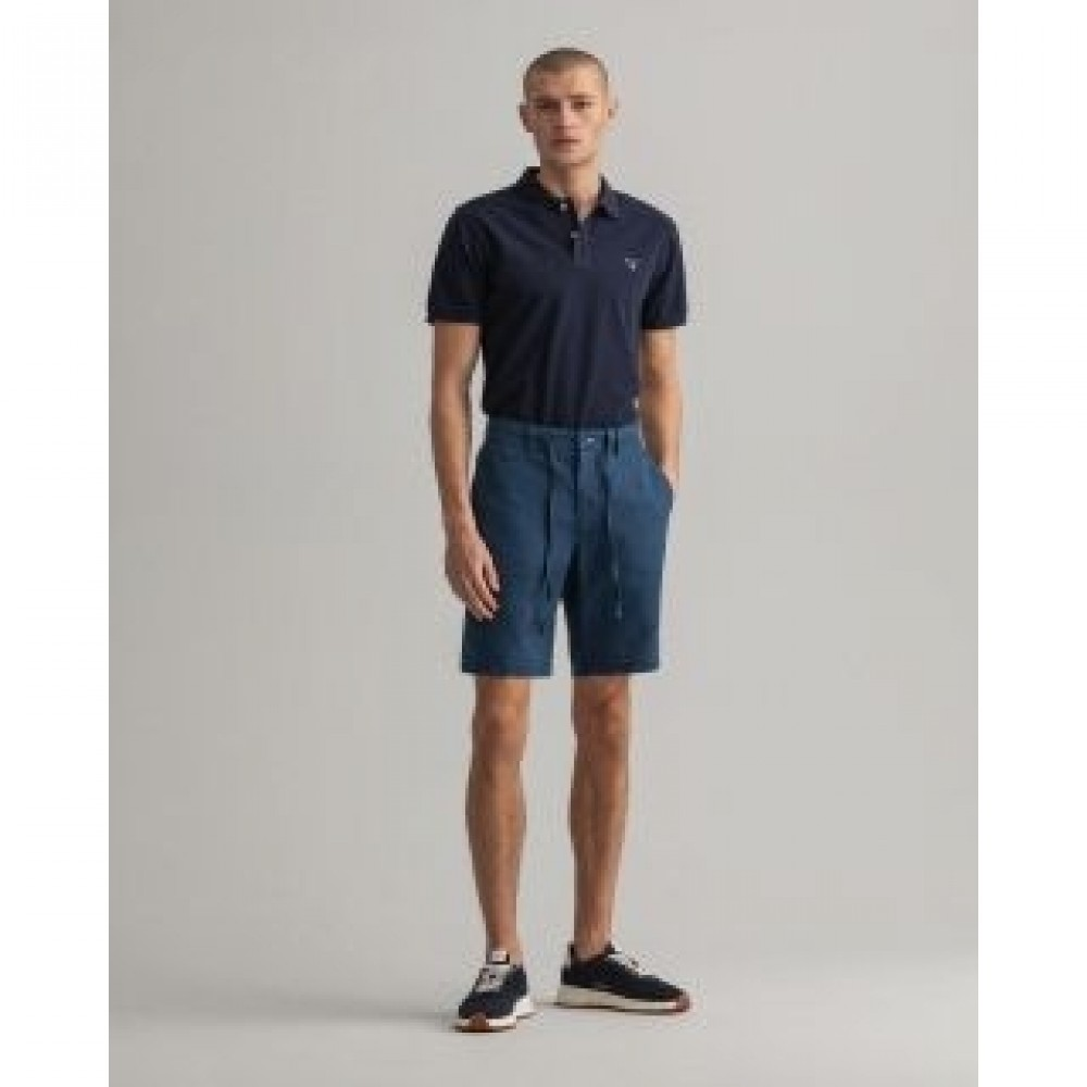 Gant relaxed fit shorts af hør med løbesnor - navy
