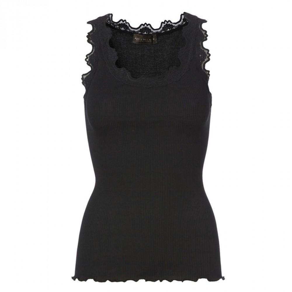 Silk top regular, black