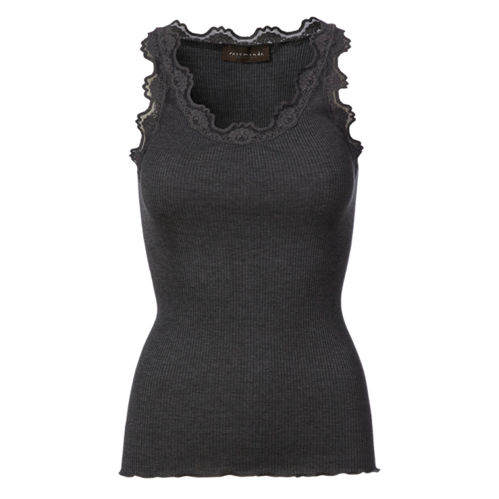 Silk top regular, dark grey