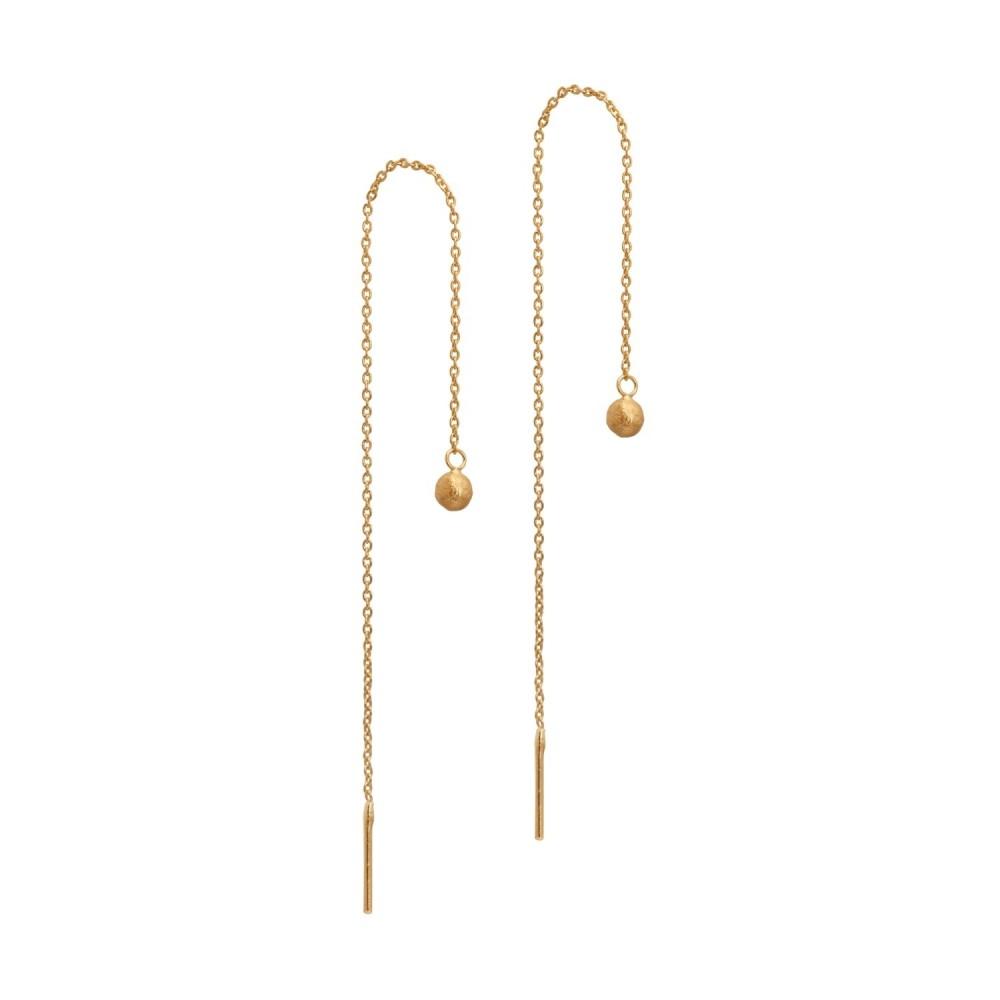 Dobbelt kæde ørering m. guldkugle
