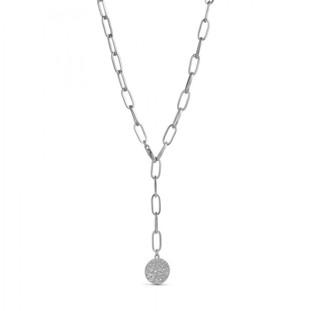 Åben lænkekæde m. vedhæng - sølv