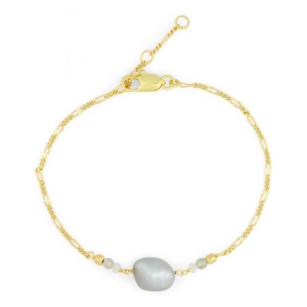 Armbånd m. grå perle - guld