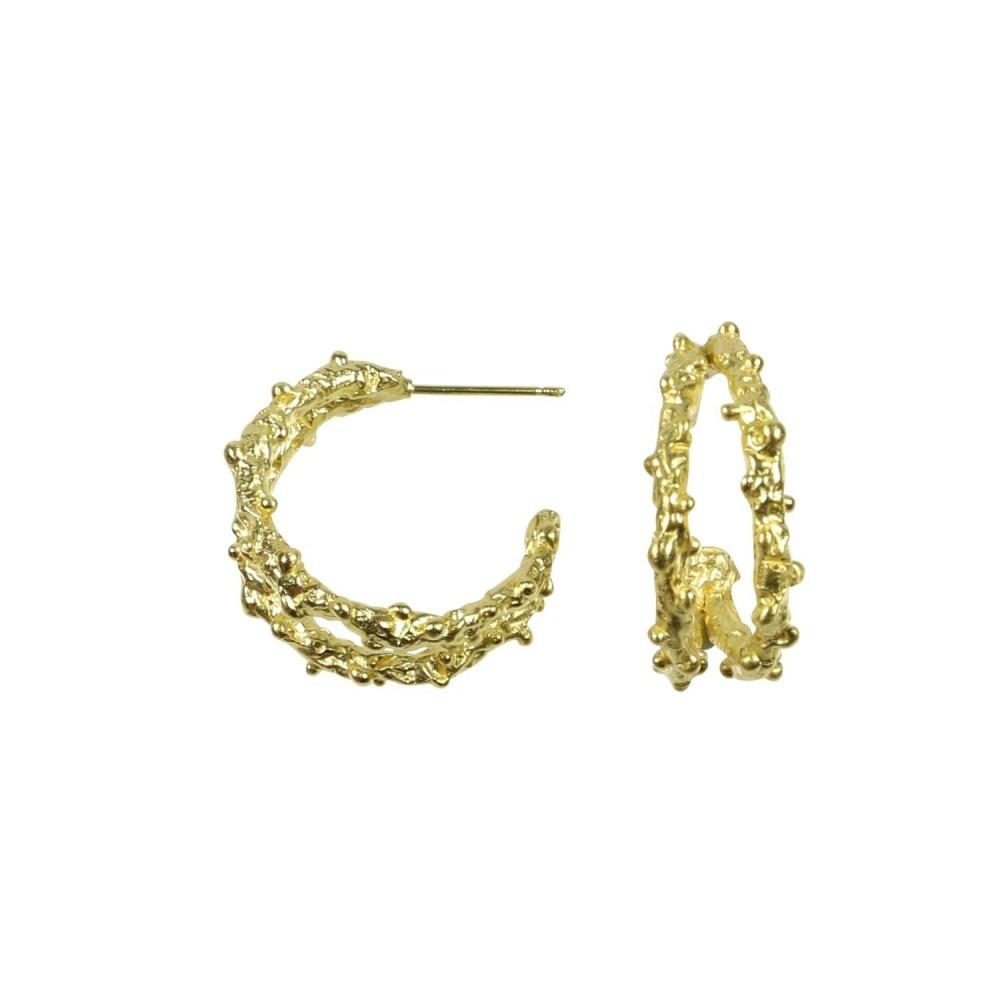 Ørering m. rustikt look, guldbelagt