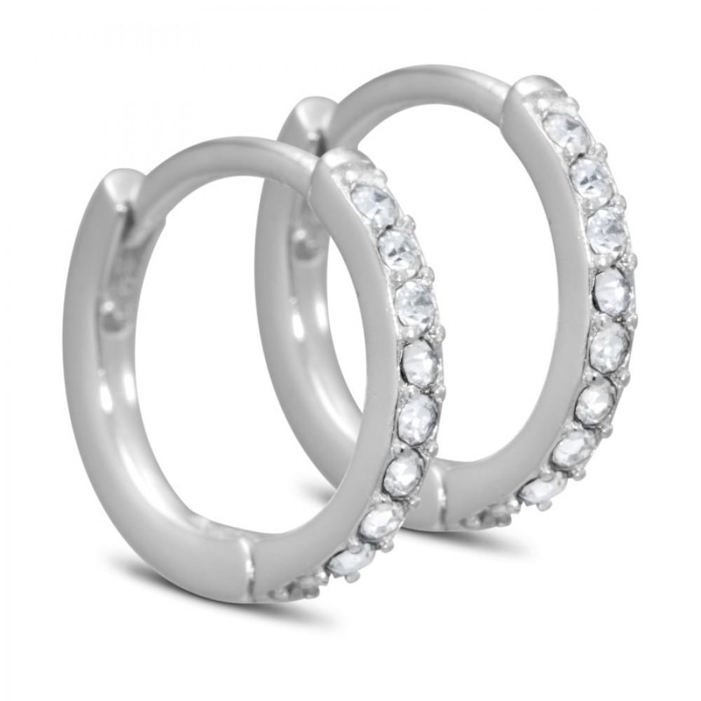 Creol ørering m. zirkoner - sølv/klar