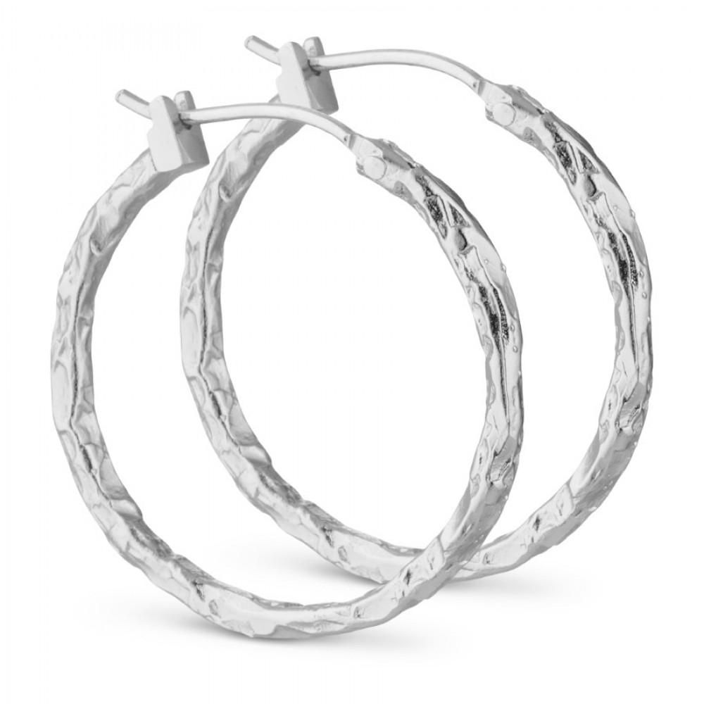 Ørering m creol foil look - sølv, 30 mm