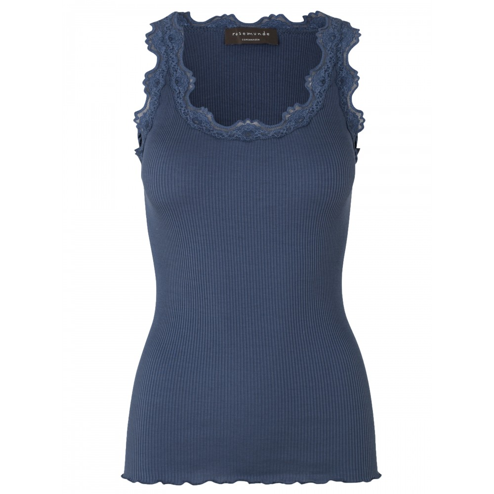 Rosemunde Silk top regular w/vintage lace - denim blue