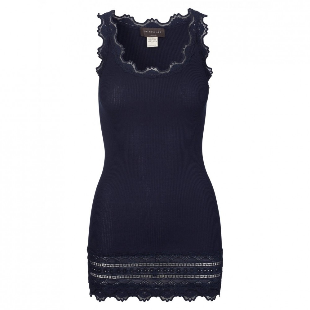 Silk top medium w/wide lace, navy