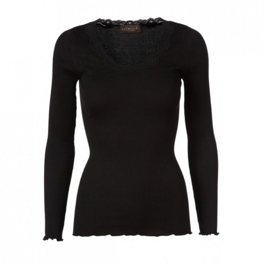 Rosemunde Silk Blouse with Vintage Lace, Black