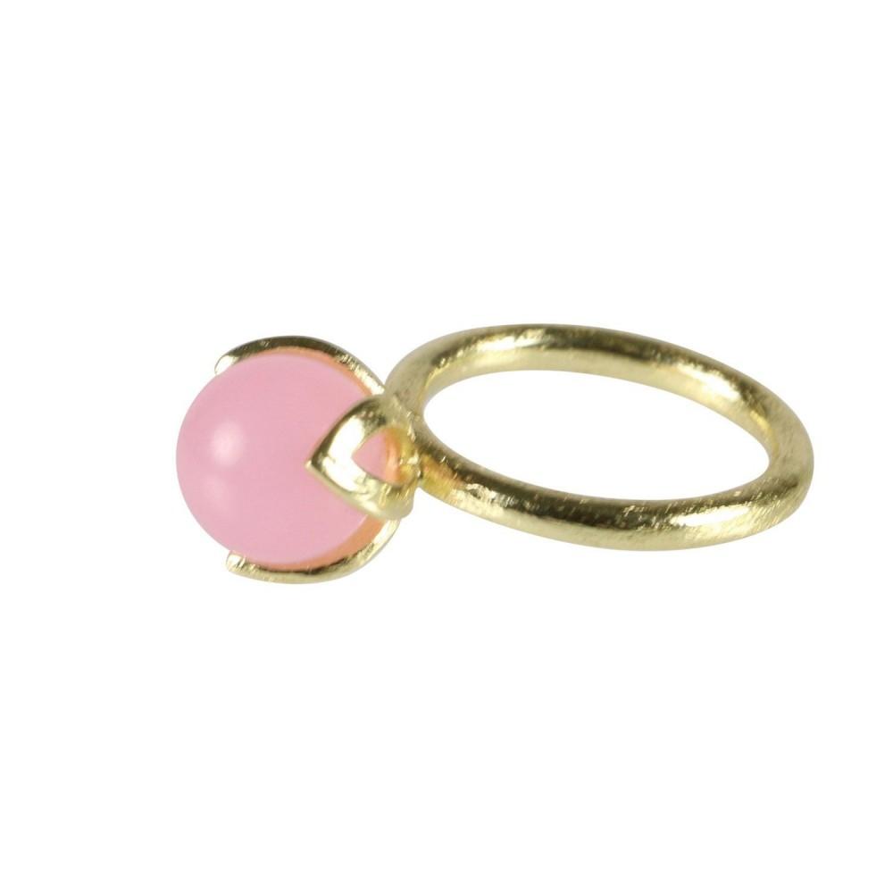 Fingerring m. stenkugle rosa chalcedonia, guldbelagt