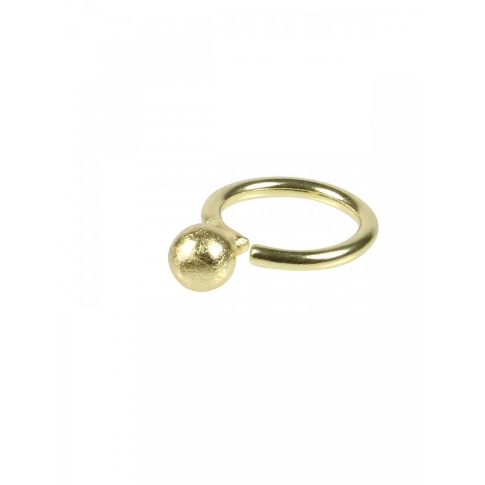 Fingering m. 8 mm kugle, guldbelagt