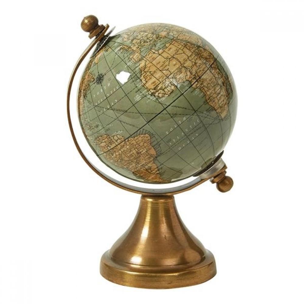 Globus m. fod 8x14cm, Shiny Olive/Gold