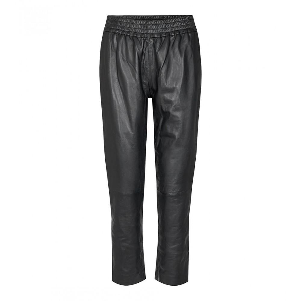 Shiloh chop leather pant - black