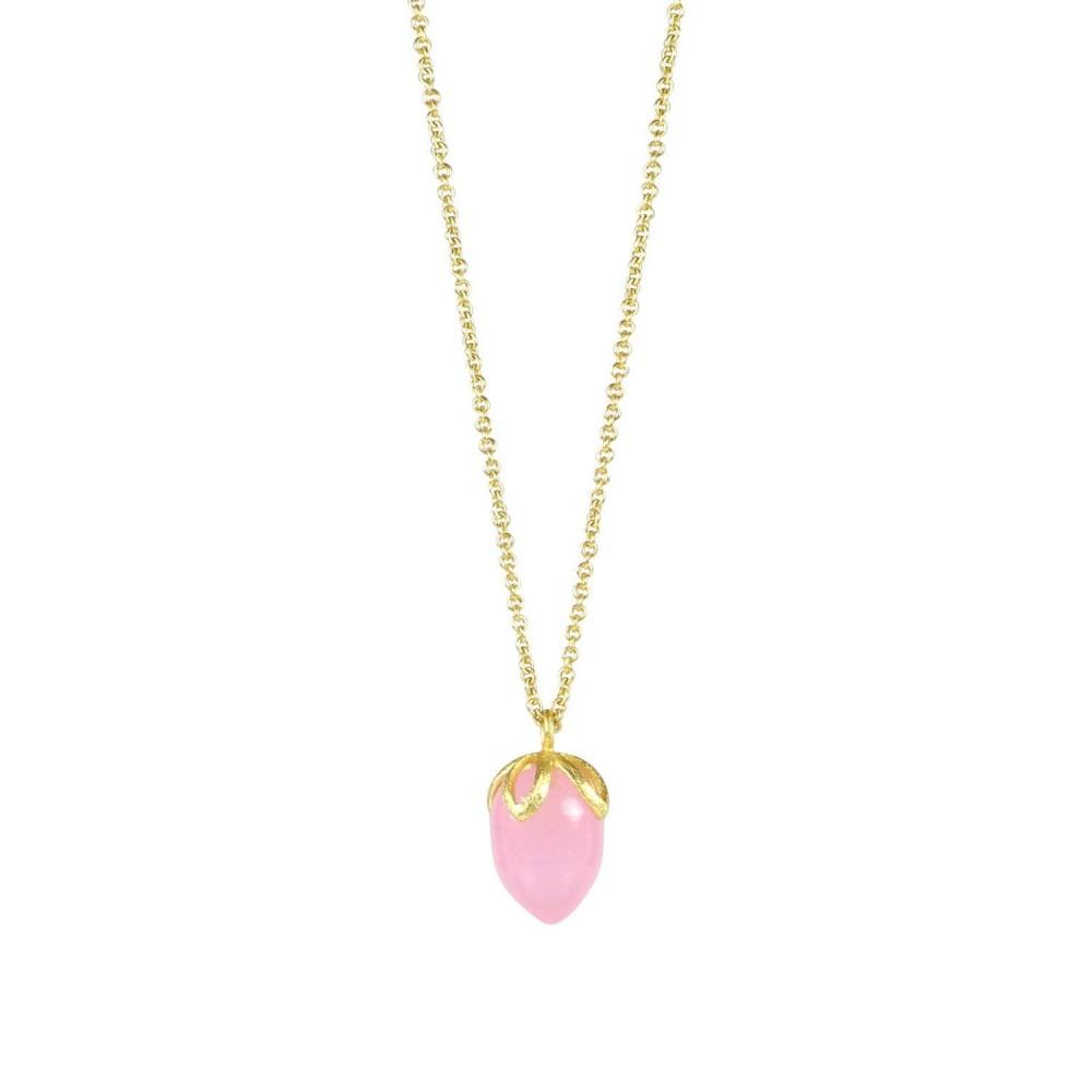 Lang kæde m. dråbesten rosa chalcedon, guldbelagt