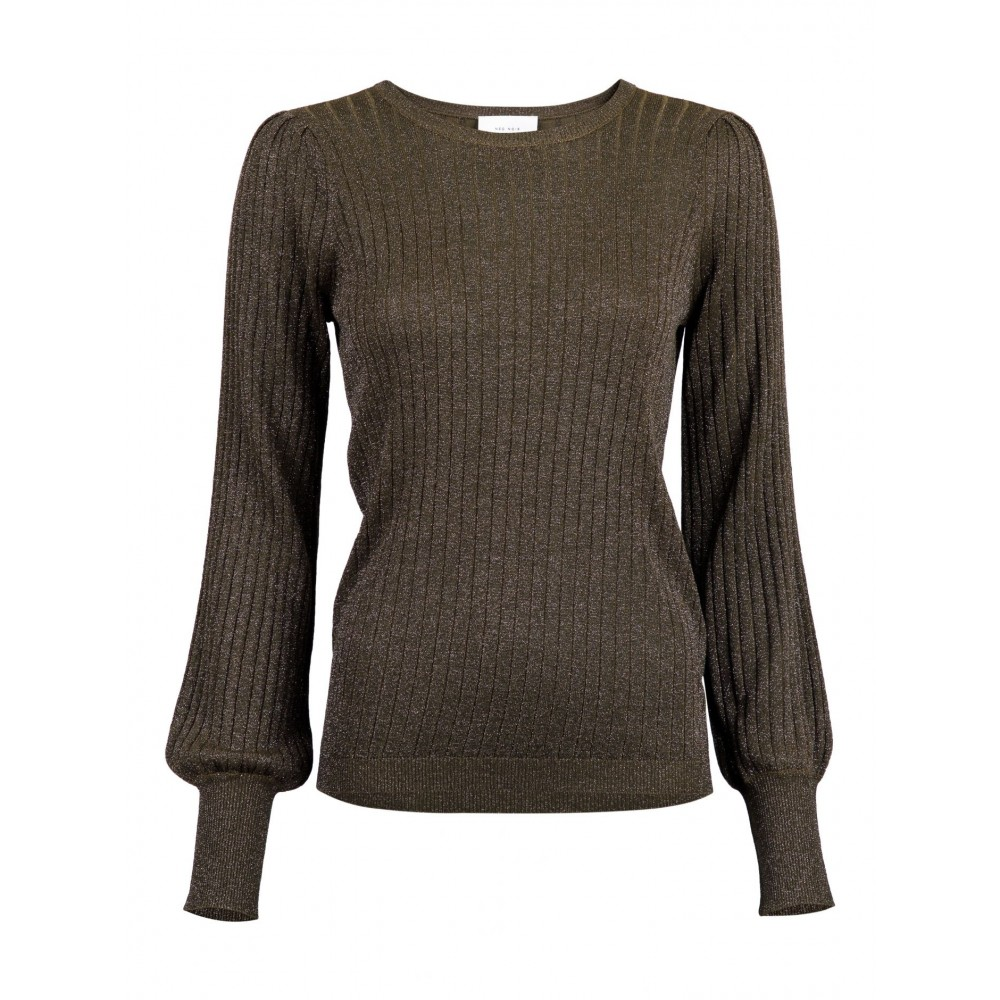 Loline solid knit blouse, army