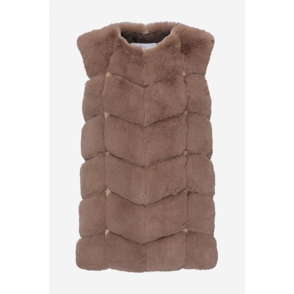 Ashley Faux Fur Vest Brun