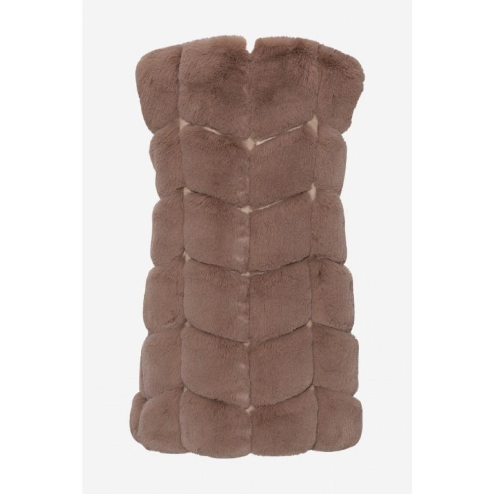 Ashley Faux Fur Vest Brun-01
