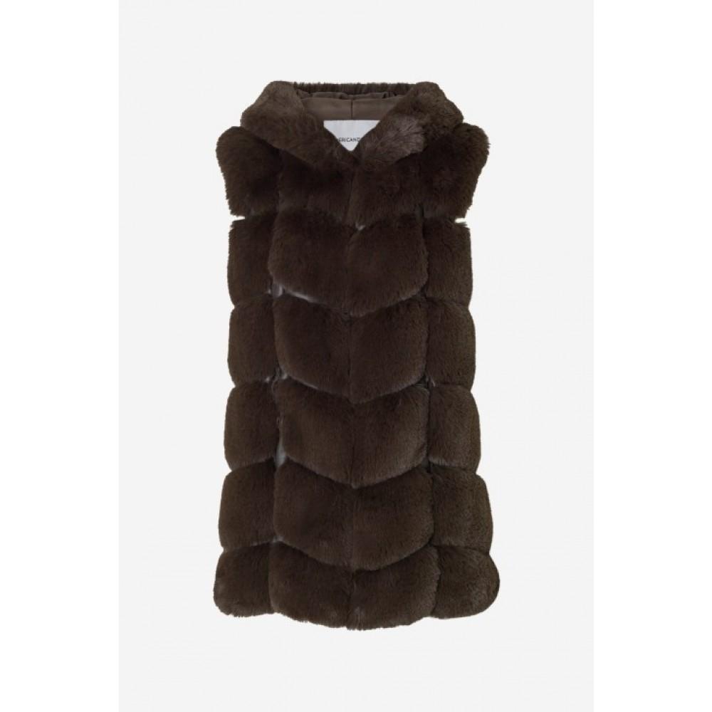 Ashley Vest w/hoodie Chocolate brown