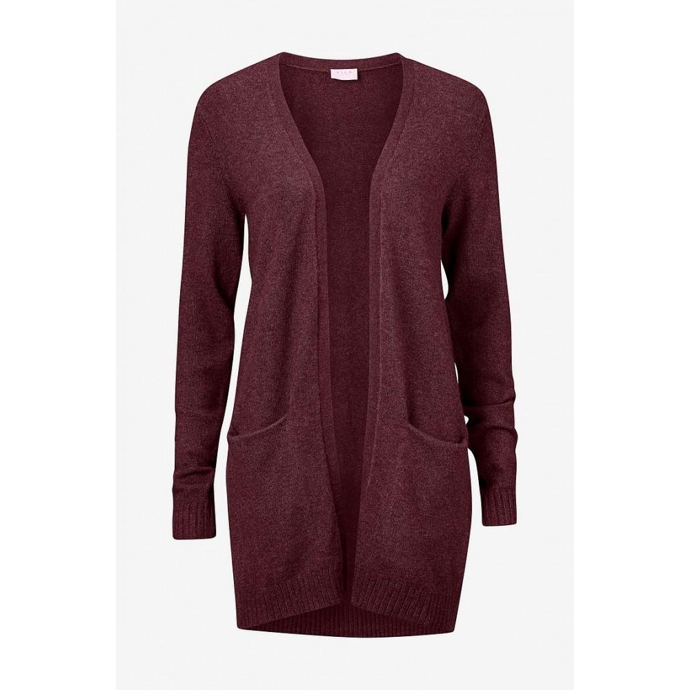 Viril open L/S Knit Cardigan - Winetasting Melange