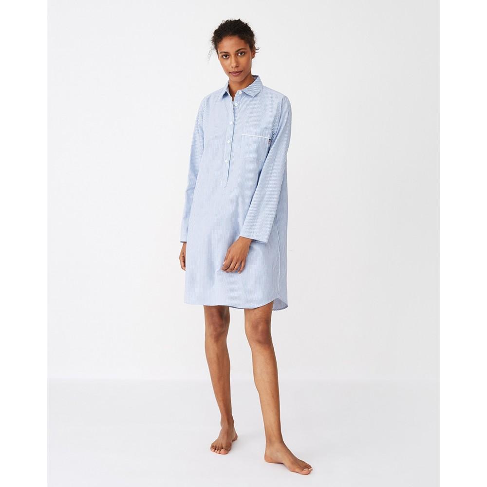 Women's Nightshirt Organic Lt blue/white