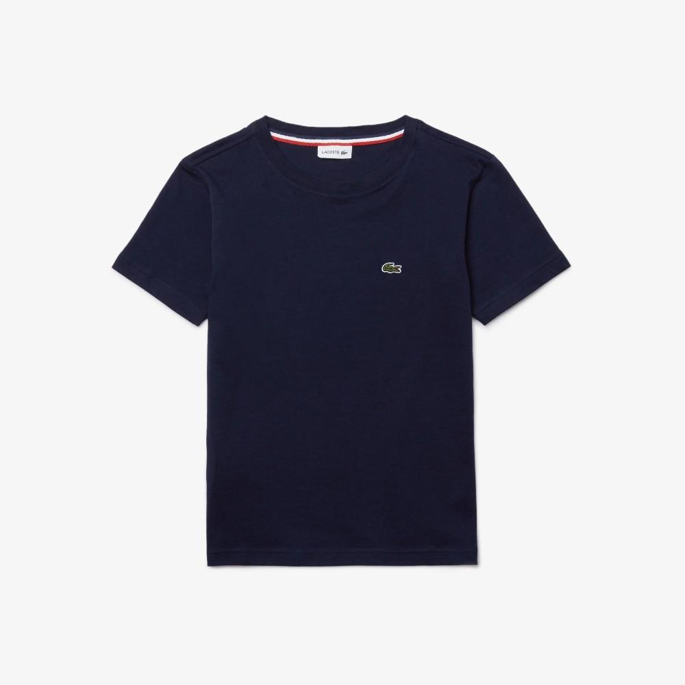 Boys' Crew Neck Cotton Jersey T-shirt - navy