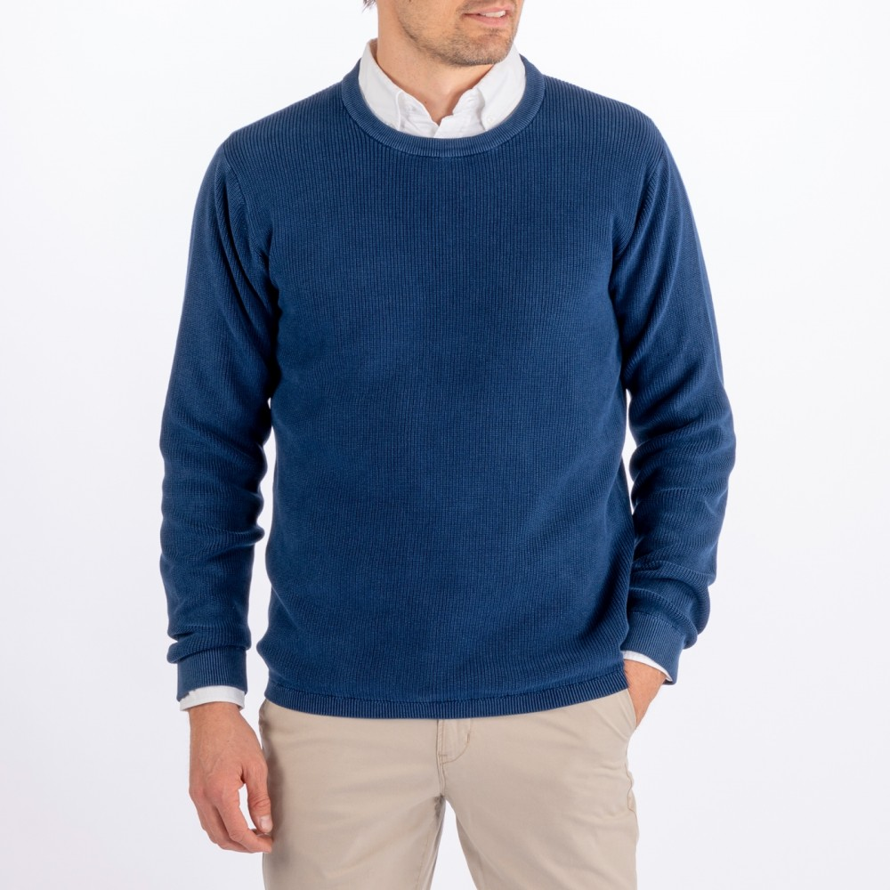 Indigo knitted crew - indigo blue