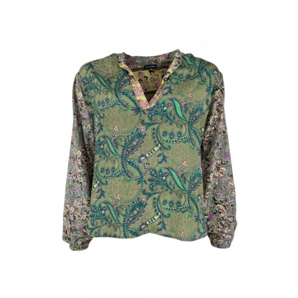 Luna kaftan blouse - army multi