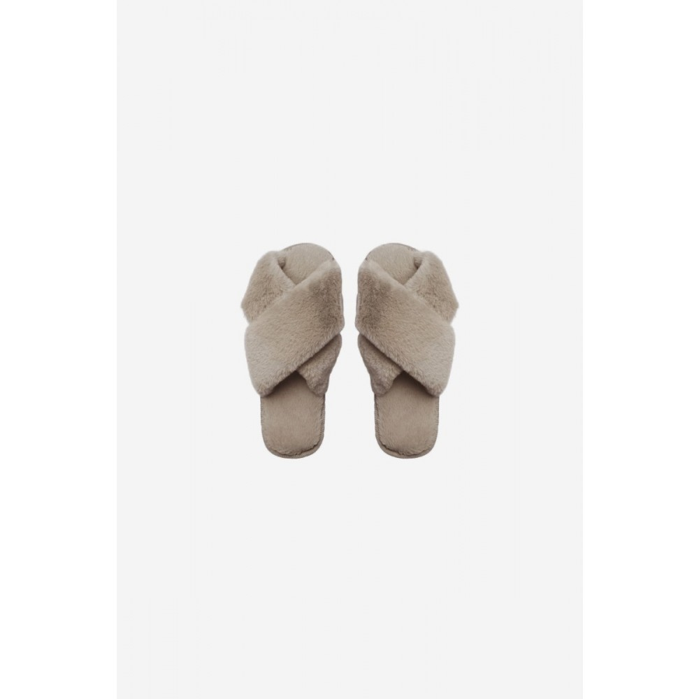 Lou Faux Fur Slippers - Taupe