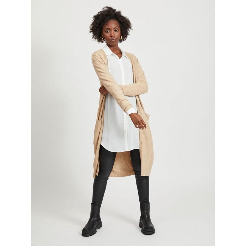 Viril Long L/S Knit Cardigan Beige