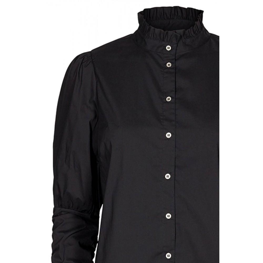 Sandy Poplin Puff Shirt Black-01