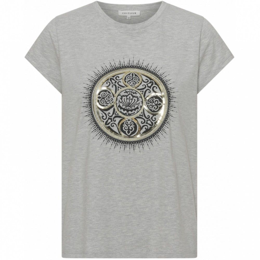 Alicia tee with foil print, grey melange