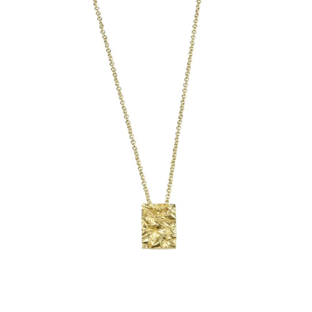 Kort kæde m. firkantet vedhænd, guldbelagt