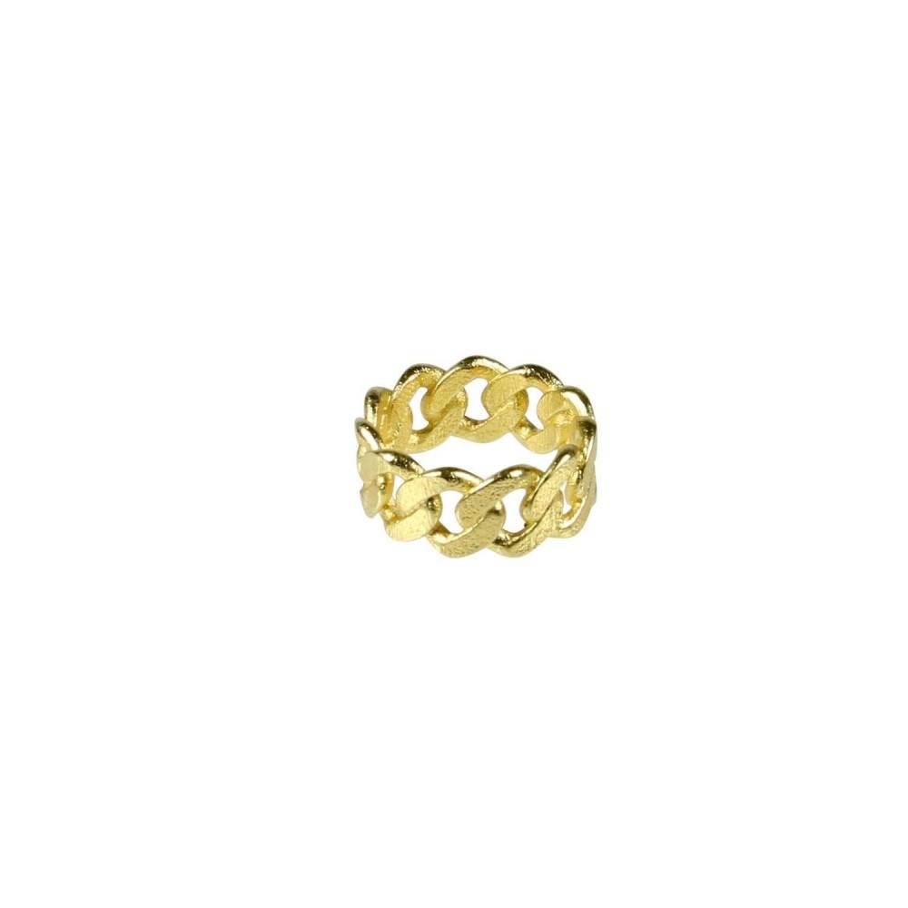 Cubansk link ring, guldbelagt
