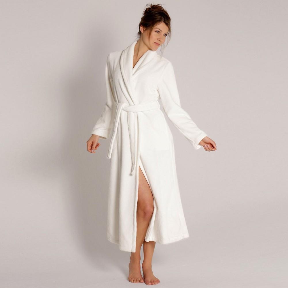 Bamboo ladies shawlcoll robe 130 cm, hvid