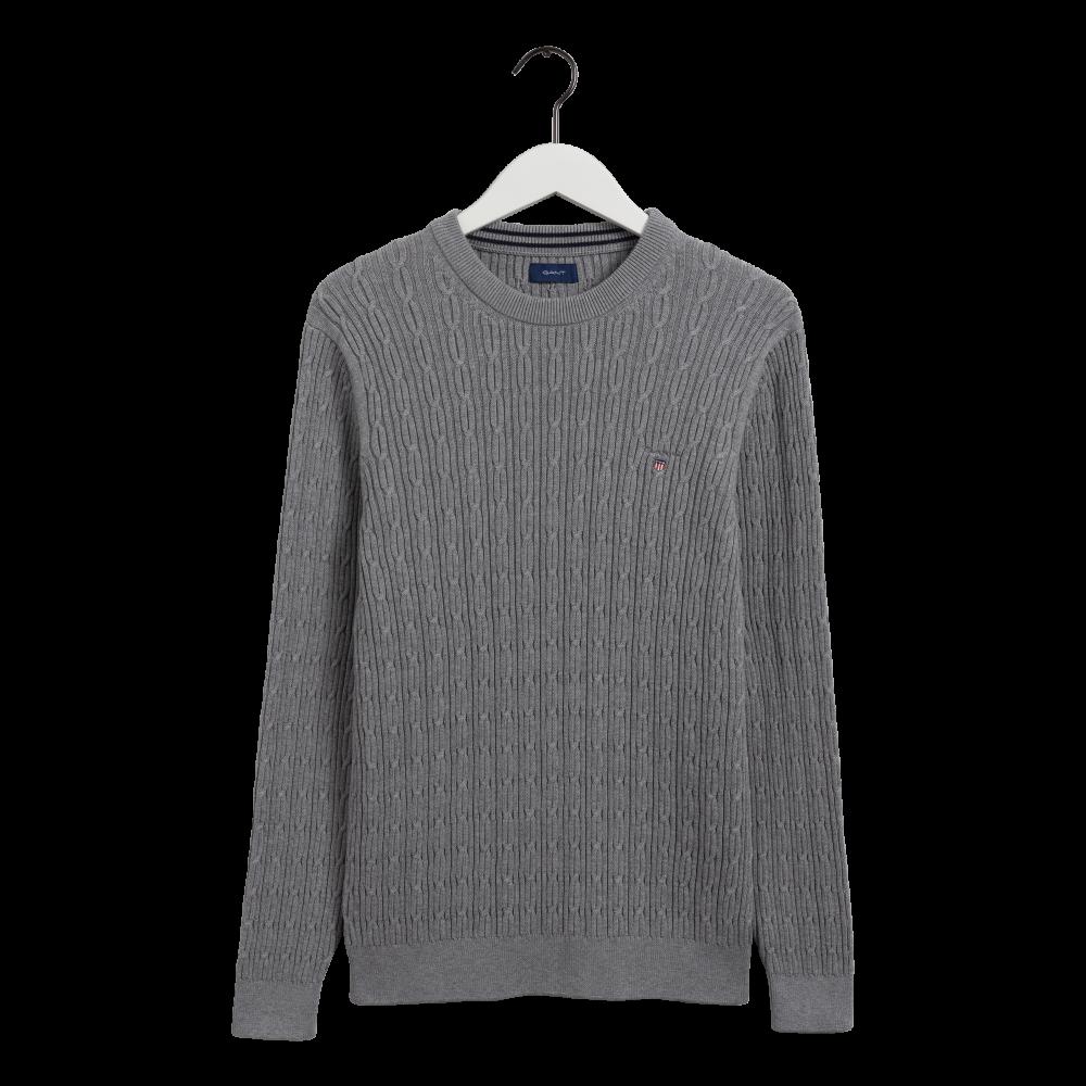 Cotton cable c-neck - grey melange