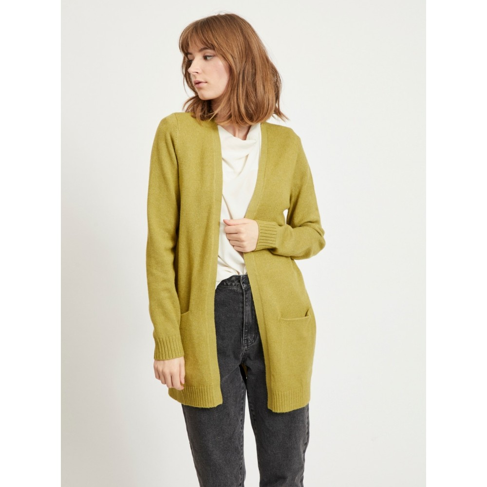 Viril open L/S knit cardigan - green olive